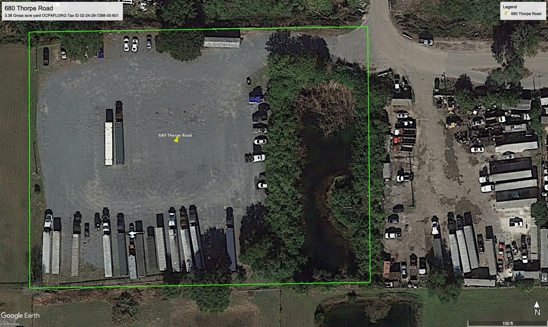 Two Usable Acre Yard For Lease