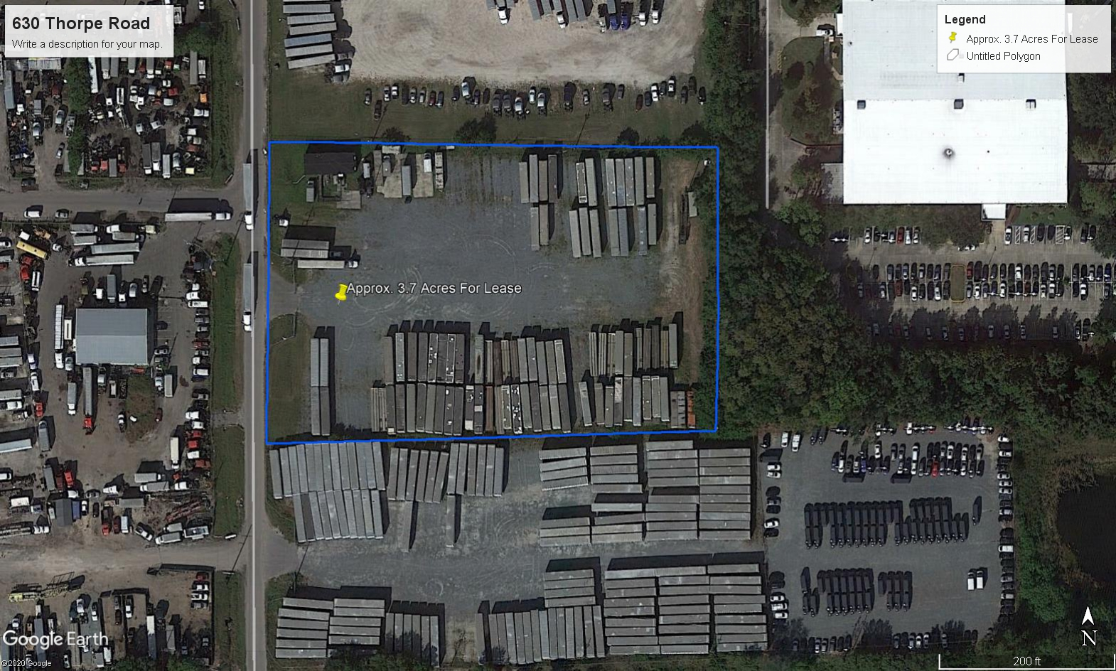 3.73 acre fenced storage yard with office trailer